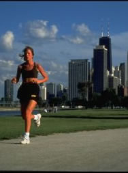 Jogging on lakefront in Lincoln Park